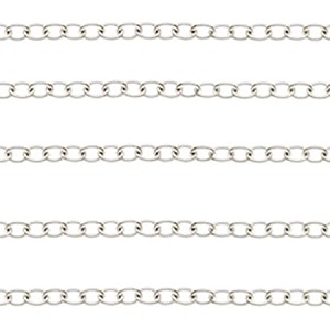 3.1MM Sterling Silver Round Cable Chain, Per Foot, Made in Italy