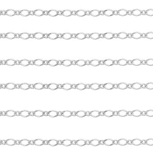 .925 Sterling Silver Italian Premium Diamond Cut Figaro Chain, 6mm x3mm, Per Foot