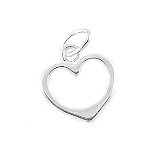 .925 Sterling Silver Heart Charm, 12x10mm with Ring