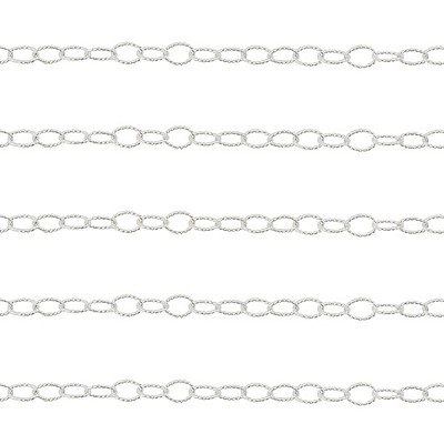 Premium Italian Sterling Silver 5mm x 3.7mm, Twisted Oval Cable Chain, Per Foot