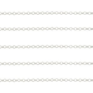 Premium Italian Sterling Silver 2.2mm Rolo Chain, Per Foot