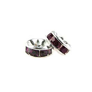 6mm Amethyst Crystal Silver Plated Rondelle Spacer Bead