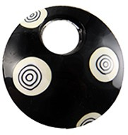 50mm Curved Round Murano Glass Abstract Pendant, Black w/White & Black