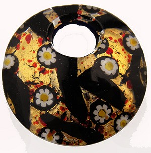 Black Millefiori/Red Frit Curved Round 50mm Gold Foil Pendant