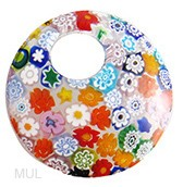 Fused Murano Glass Curved Round Pendant 50mm Multi Colors Millefiori