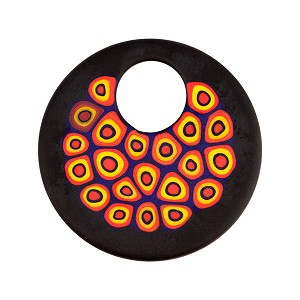 Fused Murano Glass Pendant Black Orange Circles Matte Finish 40mm