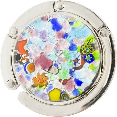 Murano Glass Purse Holder, Silver Foil Multi Colors, Millefiori