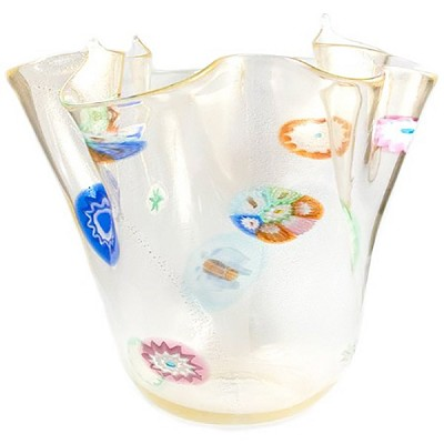 Murano Glass Vase Clear with Gold Foil with Slices of Millefiori