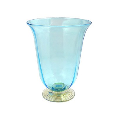 Venetian Wine Glass - Aqua and Gold, Stemless with Gold Foot