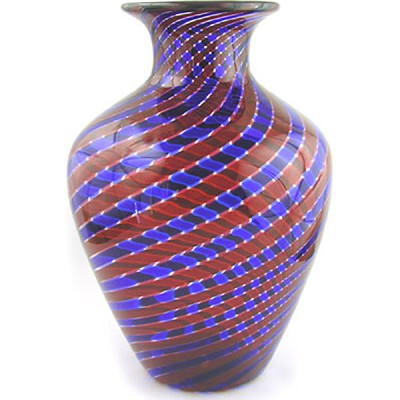 Murano Glass Vase Red and Blue Striped Swirls