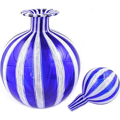 Grande Blue w/Stopper Murano Glass Mouthblown Decorative  Bottle