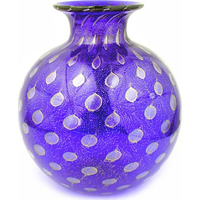 Murano Glass Vase Round with Gold Bubbles, Cobalt Blue