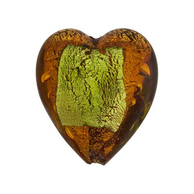Murano Glass Bead Abstract Heart 21mm Topaz and Peridot with Gold Foil
