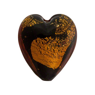 Murano Glass Bead Abstract Heart 21mm Black and Topaz with Silver Foil