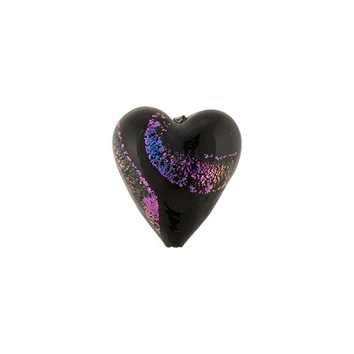 Magenta Black Dichroic Heart 12mm