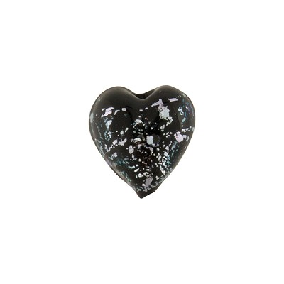Black Silver Sparklers Dichroic Murano Glass Heart Bead, 12mm