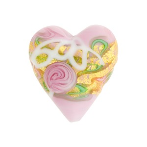 Venetian Bead Wedding Cake Heart 20mm, Rose