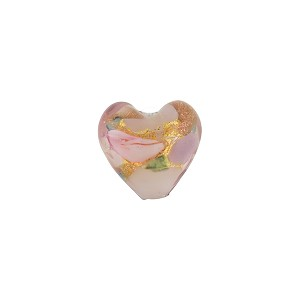 Heart with 24kt Gold Foil, Flowers in Opaque Pink, 10mm Murano Glass Bead