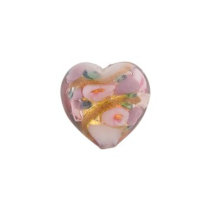 Heart with 24kt Gold Foil, Flowers in Opaque Pink, 14mm Murano Glass Bead