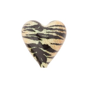 Light Topaz and Black Tiger Sparkle Heart, Murano Glass Bead, 16mm