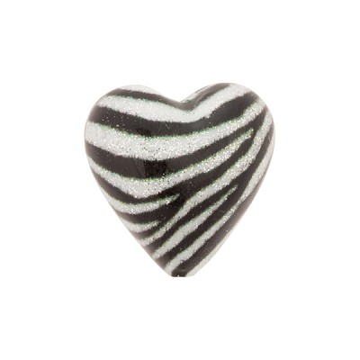 Black and White Sparkle Heart, Murano Glass Bead, 16mm