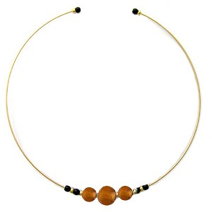 Murano Glass Choker, Memory Wire Gold Tone, 3 Beads Topaz