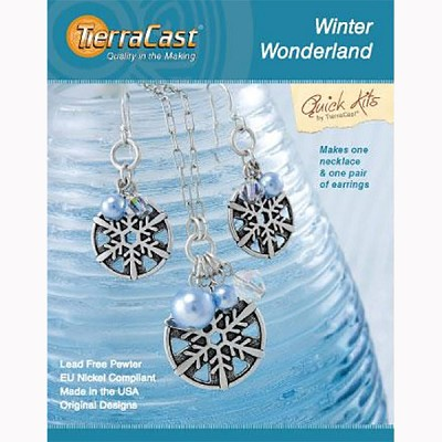 TierraCast Winter Wonderland Set Kit, Earrings and Pendant Necklace