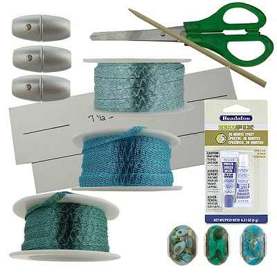 WireLace and Perlavita Mermaid 3 Bracelet Kit Aqua, Ocean Mist, Turquoise