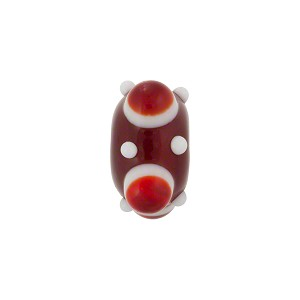 Murano Glass Lampwork Bead Squares Stacked Dots 8X16, Opaque Red