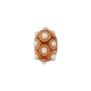 Murano Glass Lampwork Bead Rondel Stacked Dots 15x8 Topaz
