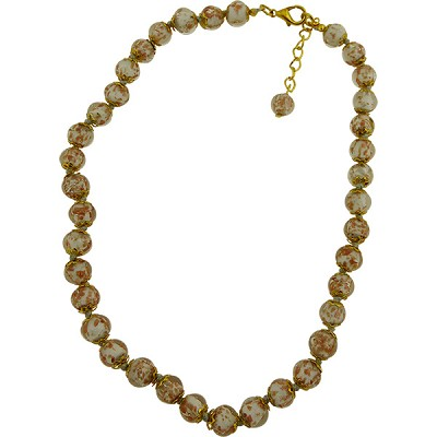 Pale Gray Aventurina  Necklace 16 Inches w/ 2 Inch Extender, Gold Tone Clasp Authentic Murano Glass Beaded