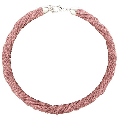 SeedBead Necklace 30 Luxury Strands, 18 Inches Dark Rose, Silver Tone Clasp w/2 In Extension