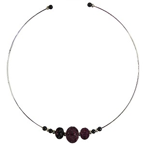 Murano Glass Choker, Memory Wire Silver Tone, 3 Beads Amethyst Silver