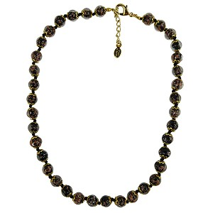 Black Aventurina Murano Glass Necklace 16 Inches w/ 1 1/4  Inch Extender, Gold Tone Clasp and Murano Tag
