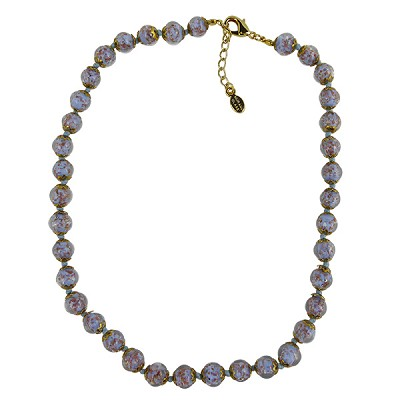 Celeste Aqua Blue Murano Glass Necklace 16 Inches w/ 1 1/4  Inch Extender, Gold Tone Clasp and Murano Tag