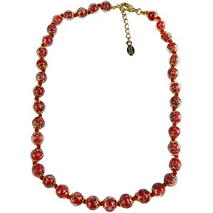Red Murano Glass Necklace 16 Inches w/ 1 1/4  Inch Extender, Gold Tone Clasp and Murano Tag
