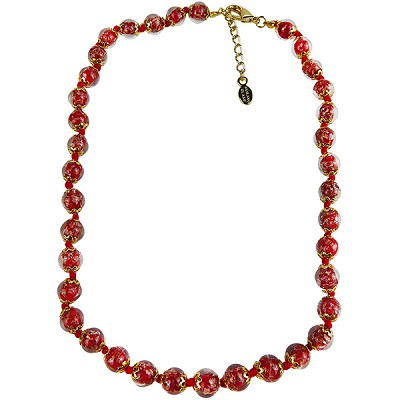 Red Murano Glass Necklace 16 Inches w/ 1 1/4  Inch Extender, Silver Tone Clasp and Murano Tag