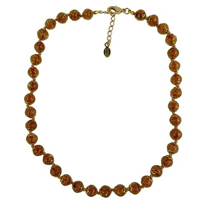 Transparent Topaz Murano Glass Necklace 16 Inches w/ 1 1/4  Inch Extender, Gold Tone Clasp and Murano Tag