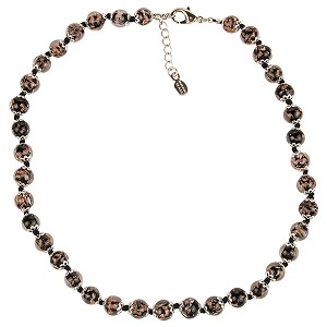 Black Aventurina Murano Glass Necklace 16 Inches w/ 1 1/4  Inch Extender, Silver Tone Clasp and Murano Tag