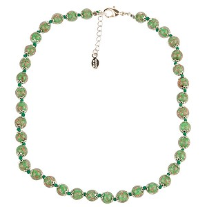 Opaque Green Murano Glass Necklace 16 Inches w/ 1 1/4  Inch Extender, Silver Tone Clasp and Murano Tag