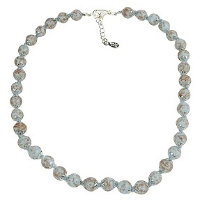 Pale Opaque Aqua Murano Glass Necklace 16 Inches w/ 1 1/4  Inch Extender, Silver Tone Clasp and Murano Tag