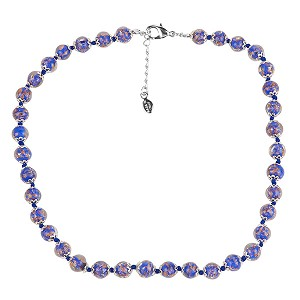 Cobalt Blue Murano Glass Necklace 16 Inches w/ 1 1/4  Inch Extender, Silver Tone Clasp and Murano Tag