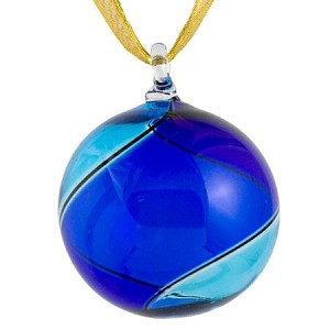 Blue and Aqua Striped Murano Glass Christmas Ornament