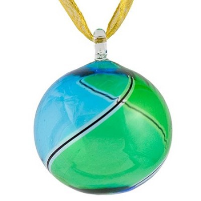 Aqua and Green Striped Murano Glass Christmas Ornament
