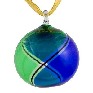 Blue and Green Striped Murano Glass Christmas Ornament