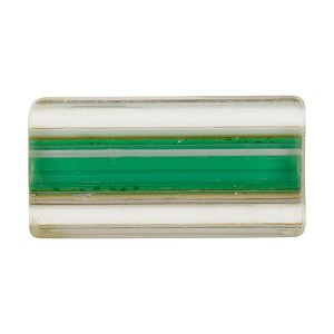Green over White Murano Furnace Glass, Cane Beads 25mm