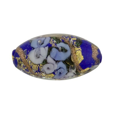 Murano Glass Bead Bed of Roses Oval 23mm Cobalt & Blue