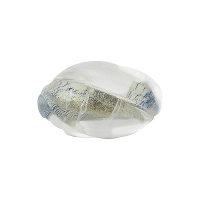 Clear with White Gold Foil, Aqua Base Oval Twist 18mm, Murano Glass Bead