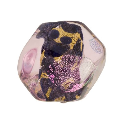 Venetian Bead Dichroic Sparkles Pebble, Pink Gold 20mm