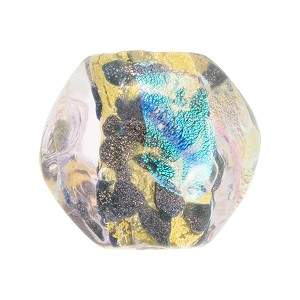 Venetian Bead Dichroic Sparkles Pebble, Light Rosato 20mm